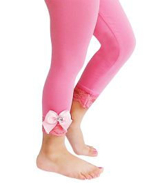 D'chica Dainty And Lacy Leggings With Tiny Ribbon Bows For Girls - Light Pink