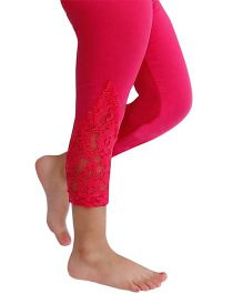 D'chica Dainty And Lacy Leggings For Girls - Fuchsia