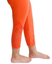 D'chica Dainty And Lacy Leggings For Girls - Coral