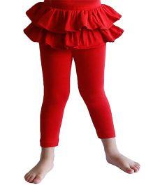 D'chica Frilly Skirt Chic Leggings For Girls - Red