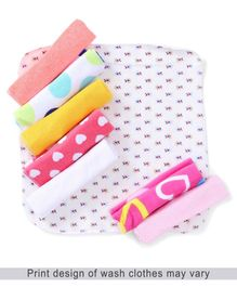 Babyhug Wash Cloth Printed Pack of 8 - Multi Color