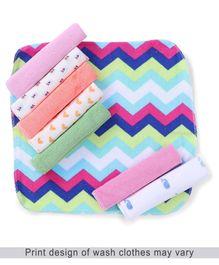 Babyhug Printed Wash Cloth Pack of 8 - Pink & Multi Color