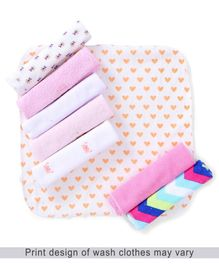 Babyhug Knit Wash Cloth Pack of 8 (Color And Print May Vary)