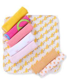 Babyhug Printed Wash Cloth Pack of 8 - Yellow & Multi Color