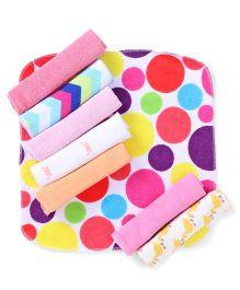 Babyhug Printed Wash Cloth Pack of 8 - Multi Color