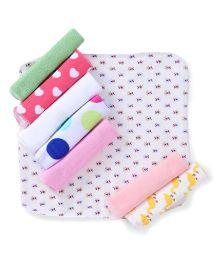 Babyhug Printed Wash Cloth Pack of 8 - White & Multi Color