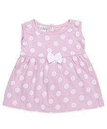Babyhug Sleeveless Knit Frock Polka Dot Print - Pink