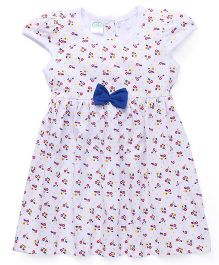 Babyhug Short Sleeves Knit Frock Allover Polka Floral Print - White