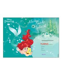 Disney Ariel The Mermaid Invitations Cards Pack of 10 - Green