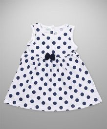 Babyhug Sleeveless Frock Bow Applique - White Navy