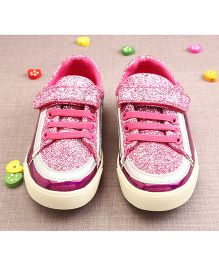 Walktrendy By Walkinlifestyle Shiny Velcro Sneakers - Pink