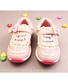 Walktrendy By Walkinlifestyle Glittery Sneakers With Lace Details - Light Pink