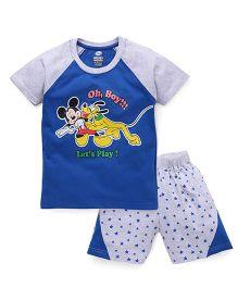 Eteenz Raglan Sleeves T-Shirt And Shorts Mickey Mouse Print - Blue Grey