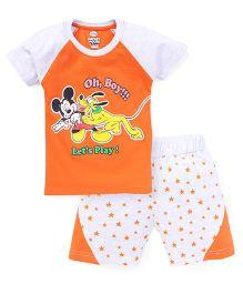 Eteenz Raglan Sleeves T-Shirt And Shorts Mickey Mouse Print - Orange Grey