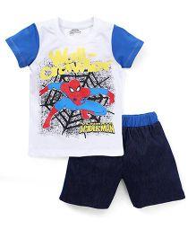 Eteenz Half Sleeves T-Shirt And Shorts Spider Man Print - White Navy