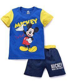 Eteenz Half Sleeves T-Shirt Mickey Print And Shorts Set - Royal Blue