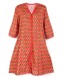 Kriti Full Sleeves Printed Maternity Kurta - Red