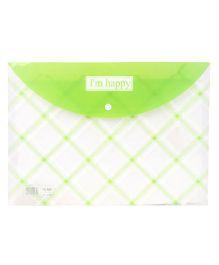 Envelope Folder Pouch I'm Happy Print - Green