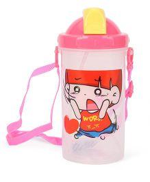 Cartoon Printed Sipper Water Bottle Pink - 500 ml