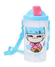Cartoon Printed Sipper Water Bottle Blue - 500 ml