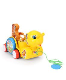 Kids Zone Pull Along Sargam Animal Toy - Yellow