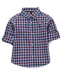 UCB Full Sleeves Shirt Checks Print - Blue Red