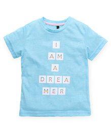 UCB Half Sleeves T-Shirt Text Print - Light Blue