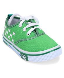 Cute Walk by Babyhug  Casual Lace Up Shoes Star Design - Green & White