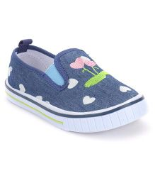 Cute Walk by Babyhug Slip-On Shoes Heart Embroidery - Navy Blue