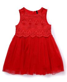 UCB Sleeveless Frock Lace Yoke - Red