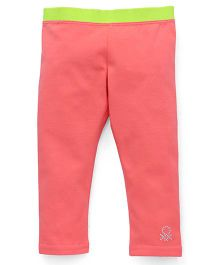 UCB Full Length Legging Contrast Waist - Peach & Green