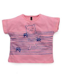 UCB Half Sleeves Tee Kitty Print Bow Applique - Pink