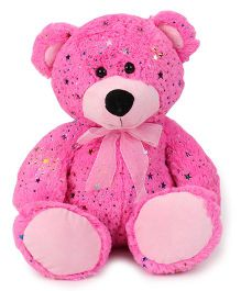 Starwalk Bear Plush Soft Toy With Bow Pink - Height 35 cm