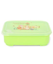 Teddy Design Lunch Box With Spoon - Green