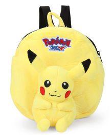 Pokemon Pikachu Applique Plush Toy Bag Yellow - Height 9 Inches