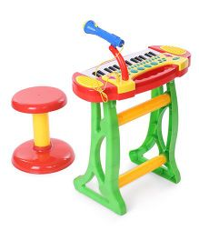 Comdaq Colorful Piano With Mike & Stool - Green And Red