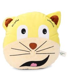 Play Toons Cat Face Cushion - Yellow and Cream