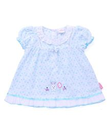 Chocopie Puff Sleeves Frock Bow Applique - White Blue