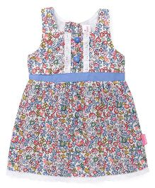Chocopie Sleeveless Floral Print Frock - Blue