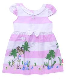 Chocopie Cap Sleeves Stripe Frock With Print - Pink & White