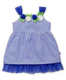 Chocopie Partywear Singlet Striped Frock With Floral Motifs - Blue