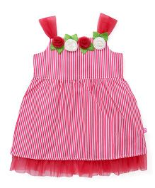 Chocopie Singlet Striped Frock With Floral Motifs - Pink