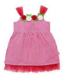 Chocopie Partywear Singlet Striped Frock With Floral Motifs - Pink