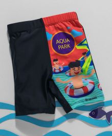 Rovars Swimming Trunks Aqua Park Print - Black & Multicolor