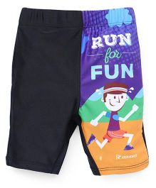 Rovars Swimming Trunks Run For Fun Print - Black & Multicolor