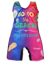 Rovars Sleeveless Legged Swimsuit Beach Print - Multicolour
