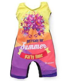 Rovars Sleeveless Legged Swimsuit Summer Party Time Print - Multicolour