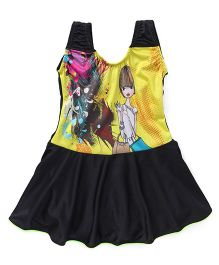 Rovars Frock Style Swimsuit Multiprint - Black Yellow