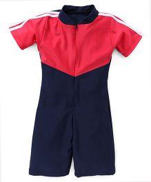 Rovars Half Sleeves Legged Swimsuit - Light Red Navy