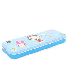 Rabbit Print Pencil Box - Blue